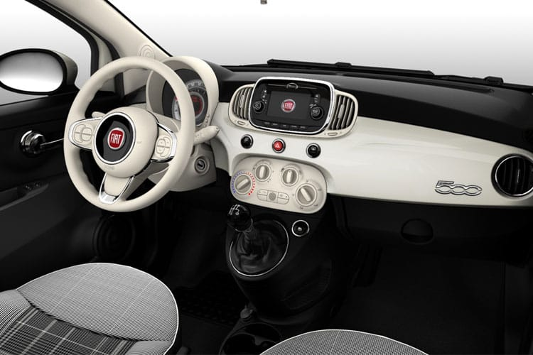 Inside view of Fiat 500 2 Door Convertible mHEV 1.0 70hp Dolcevita