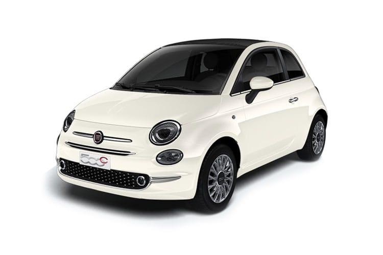 Front view of Fiat 500 2 Door Convertible 1.2 69hp Lounge Dualogic