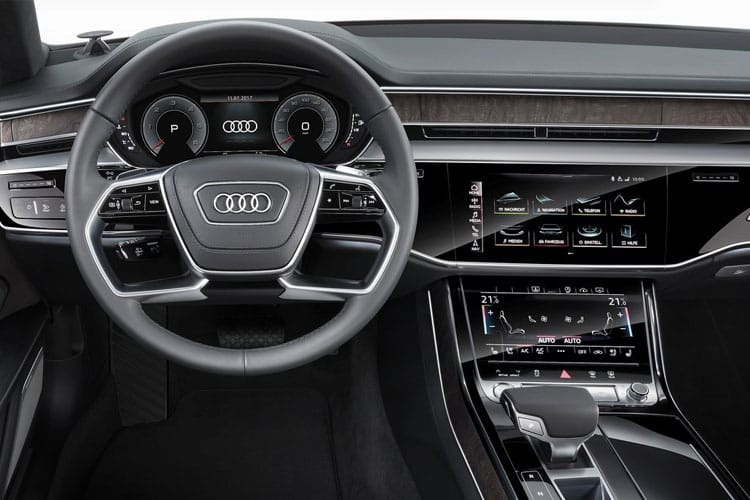Inside view of Audi A8 4 Door 55 TFSI 340ps Quattro Black Edition Tiptronic