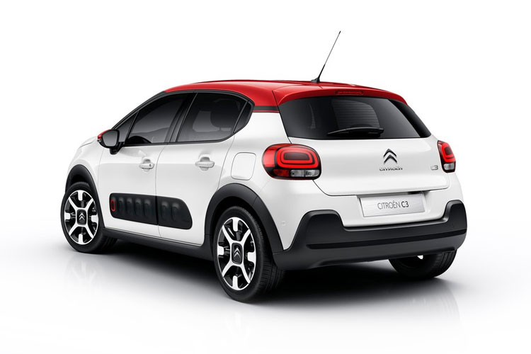 Back view of Citroen C3 5 Door Hatch 1.2 Puretech 83 Flair Plus Start+Stop (MY2021.01)