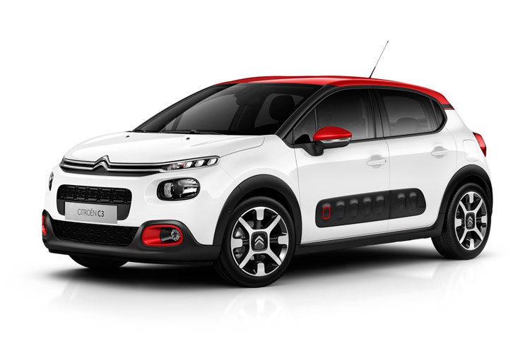 Front view of Citroen C3 5 Door Hatch 1.2 Puretech 83 Flair Plus Start+Stop (MY2021.01)