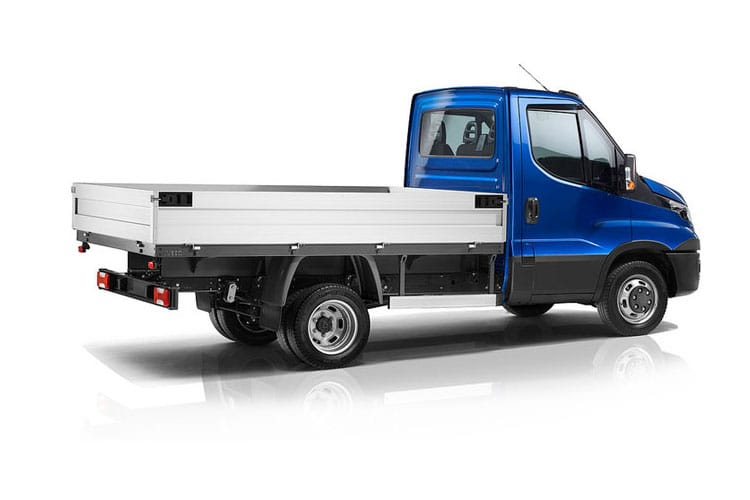 Back view of Iveco Daily 35C18 Heavy Duty Dropside Crew Cab 3.0TD 4100