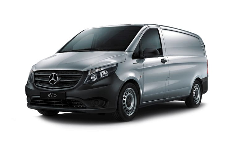Front view of Mercedes eVITO Van L2 85kW 41kWH Pure Auto