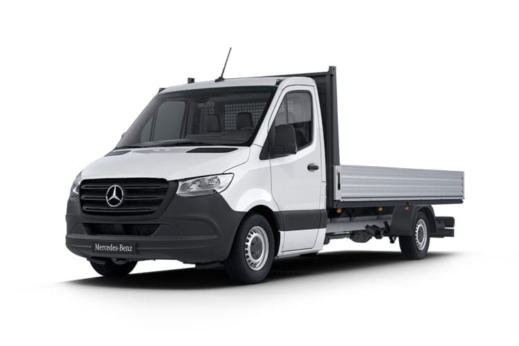 Front view of Mercedes 316CDI Sprinter Chassis Cab 3.5t L3 RWD Dropside 7G-Tronic Plus