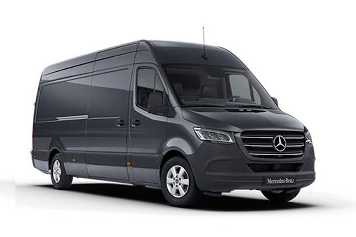 Front view of Mercedes 316CDI Sprinter Van 3.5t L3H2 Prgrsv RWD