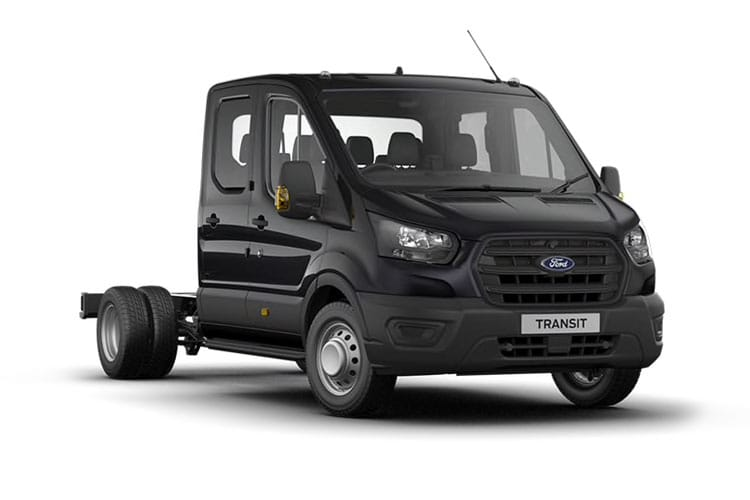 Front view of Ford Transit 350 L3 Chassis Double Cab 2.0TDCi 130 FWD
