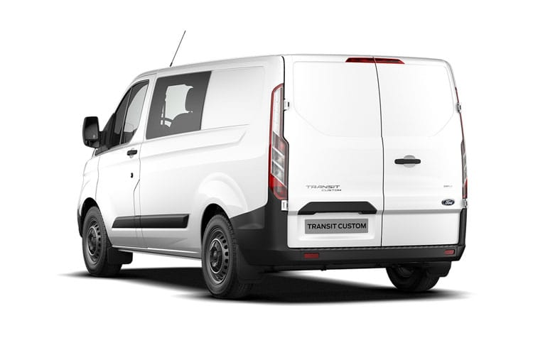 Back view of Ford Transit Custom 300L2 Double Cab In Van 2.0TDCi 130 Trl