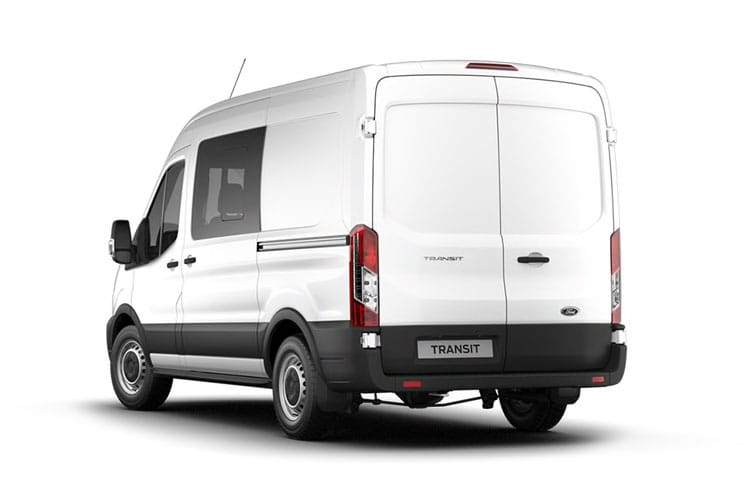 Back view of Ford Transit 350L3H2 Double Cab In Van 2.0TDCi 130 Leader AWD