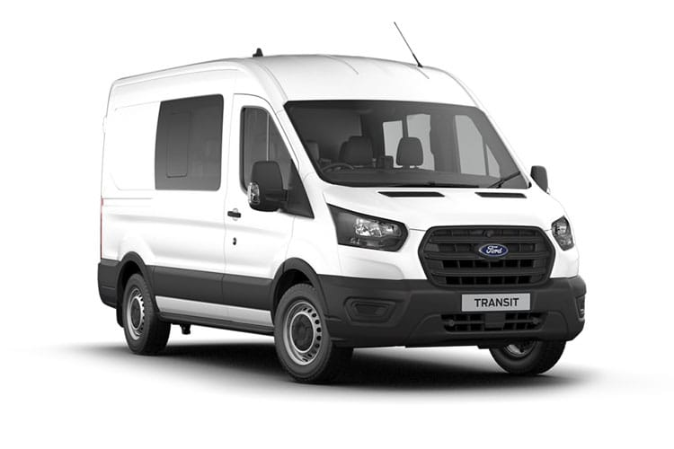 Front view of Ford Transit 350L3H2 Double Cab In Van 2.0TDCi 130 Leader AWD