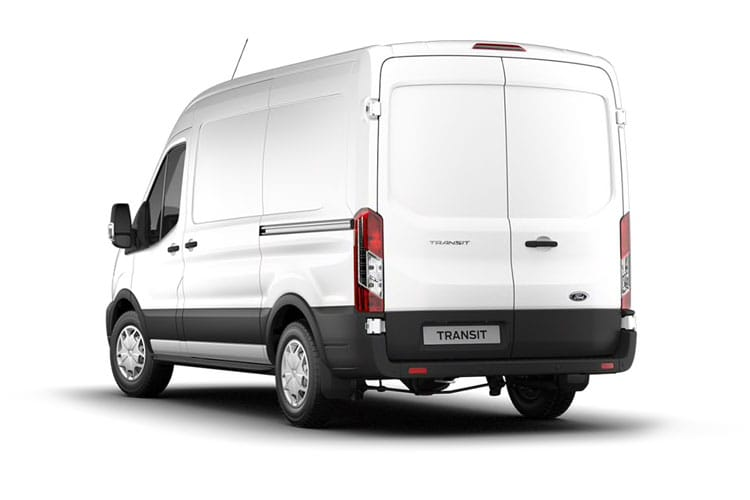 Back view of Ford Transit 330 L3H3 2.0TDCi 105 EcoBlue Leader FWD
