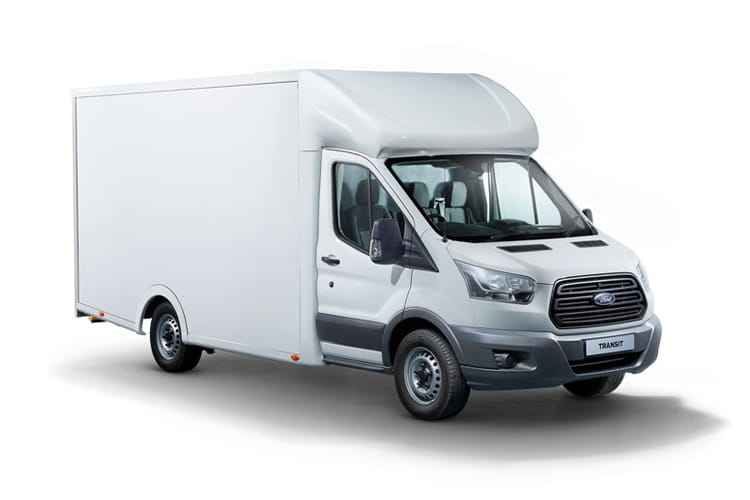 Front view of Ford Transit 350 FWD L3 Low Floor Luton Van 2.0TDCi Skeletal