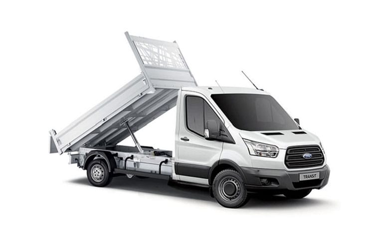 Front view of Ford Transit 350 FWD L3 Tipper 2.0TDCi 130 1Way Tool Pod